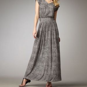Rebecca Taylor Gray Snake-Print Maxi Dress Medium